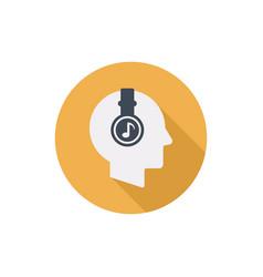 Human head with headphones flat round icon vector