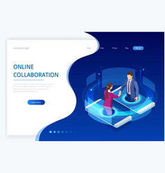 Isometric business handshake global online vector