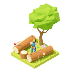 Isometric lumberjack cutts tree vector