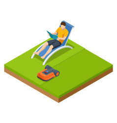 Isometric robotic lawn mower on grass trimmer vector