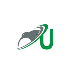 Letter u with kiwi bird logo icon design vector