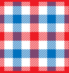 Lumberjack plaid pattern in red white and blue vector