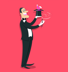 magician doing a trick with magic wand and white vector image