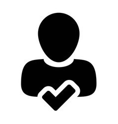 Male icon user person profile avatar with tick vector