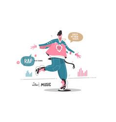 man listening music via internet app vector image