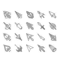 Mouse cursor simple black line icons set vector