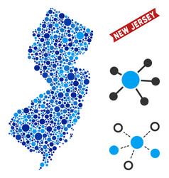New jersey state map connections mosaic vector