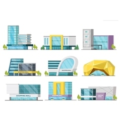 Orthogonal Shopping Mall Buildings Set vector