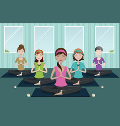 people doing yoga in a yoga studio vector image