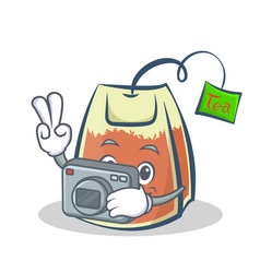 Photography tea bag character cartoon vector
