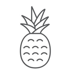 Pineapple thin line icon fruit and ananas vector