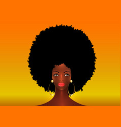 Portrait african american woman black afro hair vector