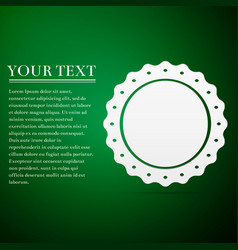 Quality emblem flat icon on green background vector