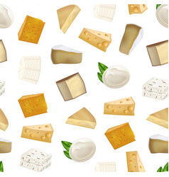 Realistic detailed 3d cheese seamless pattern vector