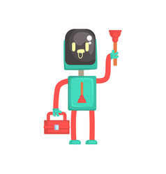 robot plumber character android holding tool box vector image