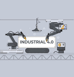 Robotic arms and conveyor belt factory automation vector