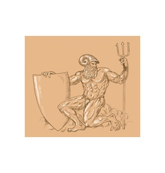 Roman god neptune or poseidon with trident and vector