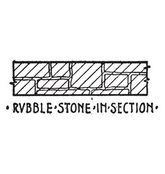 rubble stone in section material symbol vector image