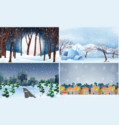 set cold winter background vector image