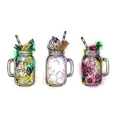 Set drinks in in mason jars vector