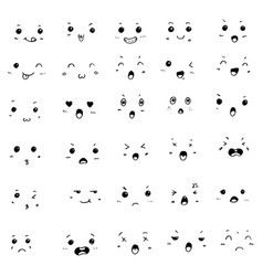 set hand drawn doodle kawaii cute faces vector image