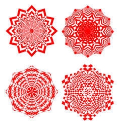 set of simple geometric design elements red vector image