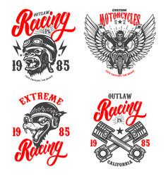 set racer emblems crossed pistons gorilla vector image
