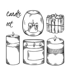 set relax candles black sketch with hatching vector image