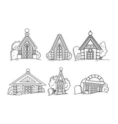 set six linear crypt images for coloring vector image