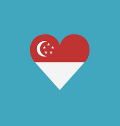 singapore flag icon in a heart shape in flat vector image