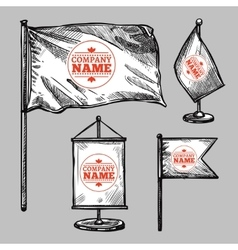 Sketch Logo Flags Set vector image