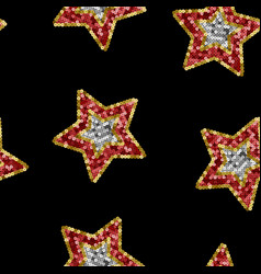 stars from sequins winter seamless pattern vector image