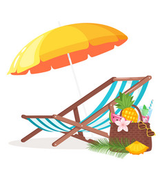 summer background with deck chair vector image