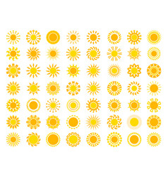 sun collection yellow sunrise symbols nature vector image