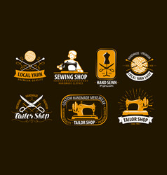 tailoring tailor shop logo or label atelier vector image