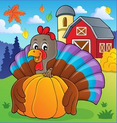 turkey bird holding pumpkin theme 2 vector image