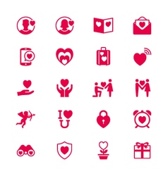 Valentines day flat icons vector image