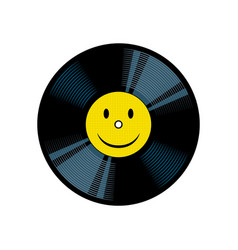 Vinyl record with yellow smile pop art vector