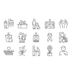volunteering linear icons set reliance vector image