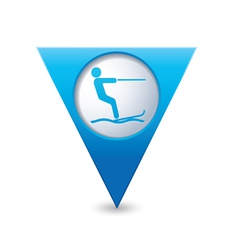 Waterskiing symbol pointer blue vector
