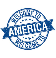 Welcome to america blue round ribbon stamp vector