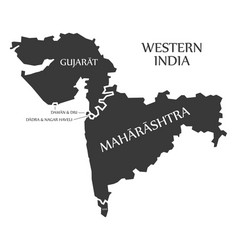 Western india region map labelled black vector
