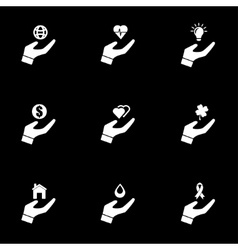 White insurance hand icon set vector