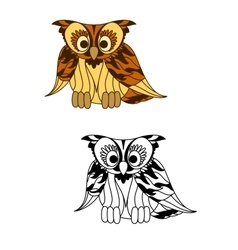 Wild forest yellow owl with brown plumage vector