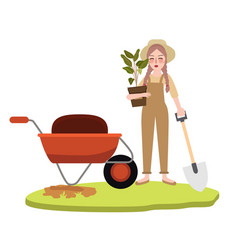 woman girl gardening farming bring pot plant vector image