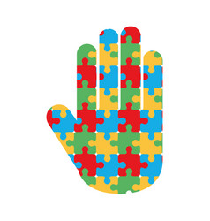 World autism day puzzles shaped hand white vector