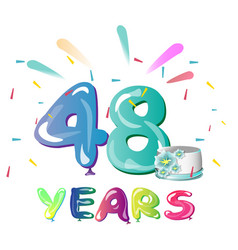 48 years anniversary celebration with cake vector