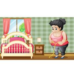 A sad fat lady inside her bedroom vector
