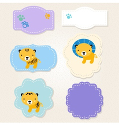 Cute Safari animals tags collection for baby boy vector image vector image