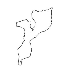 mozambique map of black contour curves on white vector image vector image